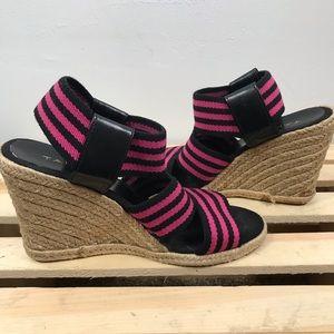 Tahari espadrille pink and black wedges